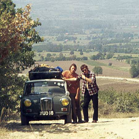 Bernard made several extensive tours across Europe. Pictured here next to Martin Lane's Mini with ceramacist Martin Hughes on a particlarly rough Bulgarian road