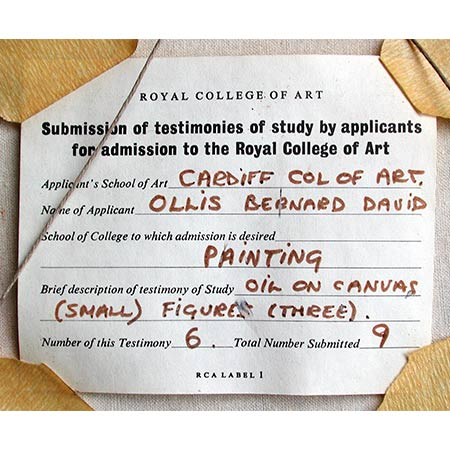 The label from the previous painting No 6 from a total of a portfolio of 9 submitted for Bernard's application to attend The Royal College of Art, London