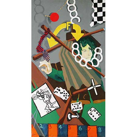 Gambling 1979, Oil on canvas, 176 x 96cm(End panel of the 'Gambling') triptych)