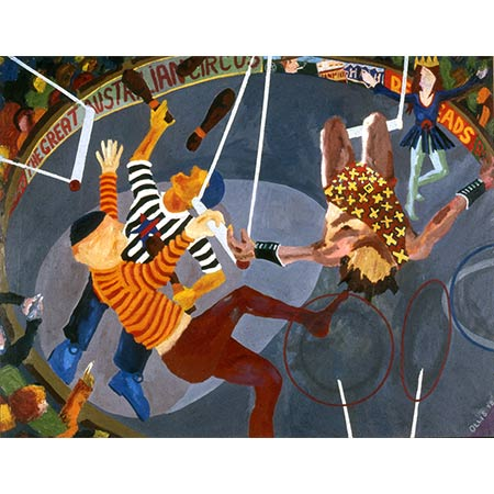 The Great Australian Circus 1977, Oil on canvas, 183 x 244cm (Collection of the Bendigo Art Gallery, VIC).