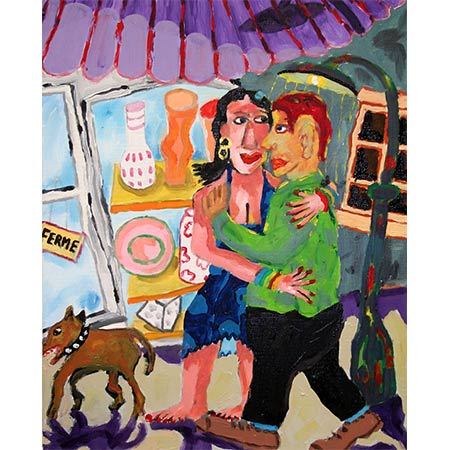 Lovers with dog 2006, Oil on canvas, 50 x 40cm