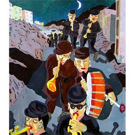 The band returning (1) 2005, Oil on canvas 160 x 140cm (Winner of the 2005 Gold Coast Aquisitive Award, Conrad Jupiter Prize)