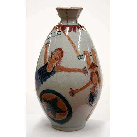 Acrobats vase, 2007, in collaboration with potter Ian Smith - Wentworth Falls, NSW, Ceramic 32cm high
