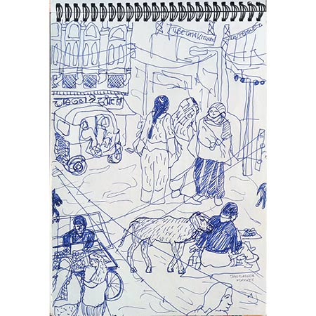 Market Jaiselmer 2007, sketchbook (India)