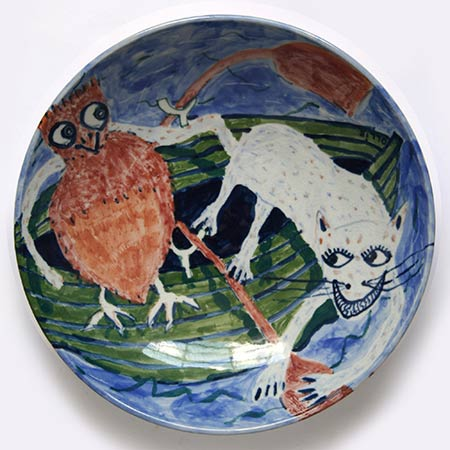 The Owl and the Pussy Cat platter 2012, in collaboration with potter Ian Smith - Wentworth Falls, NSW, Ceramic 40cm dia.