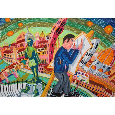 The Artist in Florence 2008, Oil pastel on paper, 70 x 101cm