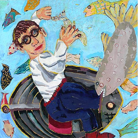 Self portrait with fish 2007, Oil on canvas, 137 x 137cm