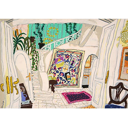 The Australian Residence, Zamalek, Cairo January 2008, Oil pastel on paper, 42 x 59cm