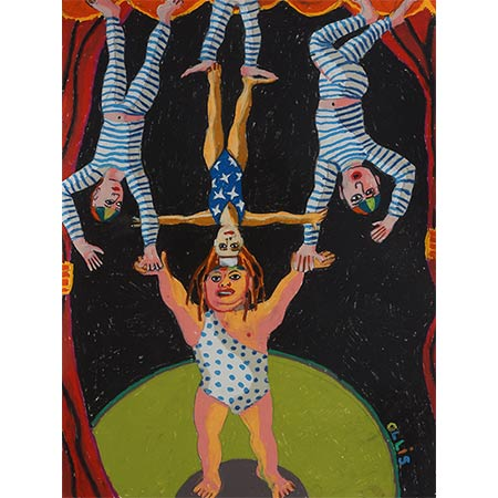 Acrobats Series 2012, Oil pastel on paper, 76 x 57cm