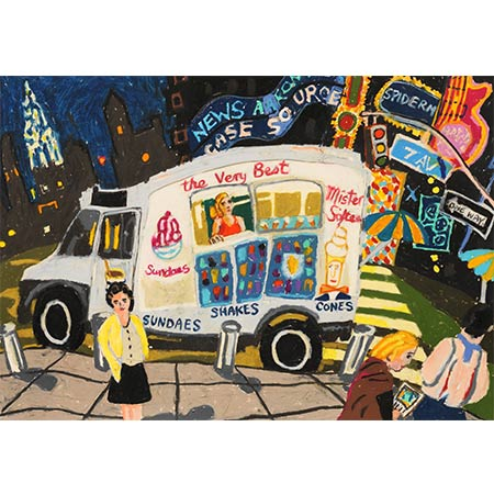 Mister Softie at Times Square 2013 Oil-pastel on paper 45 x 60cm