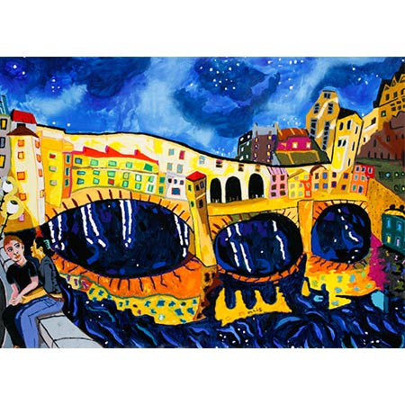 Ponte Vecchio Florence Night 2016, Mixed media 102 x 141cm