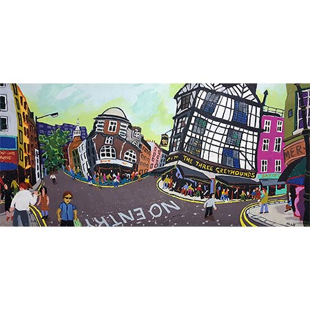 Soho London Panorama 2017, Oil pastel mixed media, 66 x 120cm