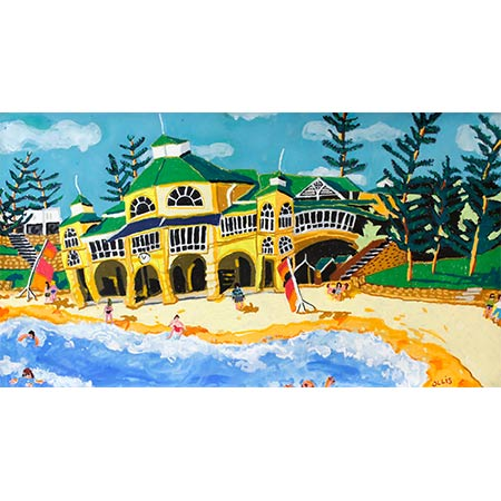 The Indiana Tea House - Perth 2016, Oil pastel and gouache 76 x 140cm